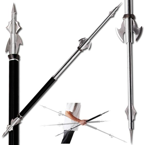 Retractable spear unique fantasy sword overall length extended 58